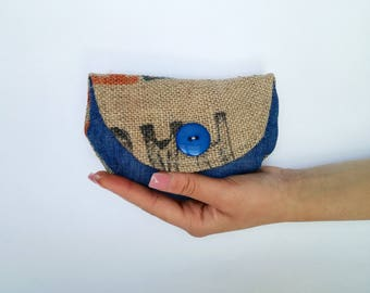 Jute Mini clutch and jeans with blue button