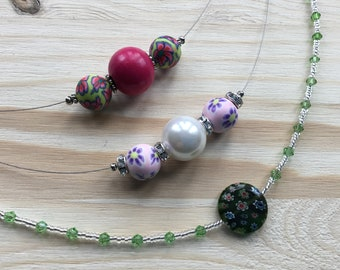 All Glass Necklace with large flat Millefiori bead in Green