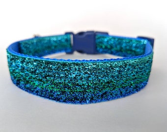 Blue Green Ombre Sparkle Dog Collar / Mermaid Sparkle Dog Collar