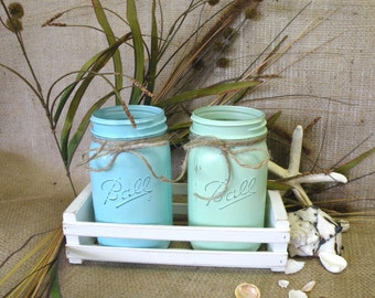 Mason Jar Vases in White Wood Crate or Basket - Easter Decor - Turquoise and Green - Beach, Coastal, Country Decor Vase, Shabby Cottage Chic