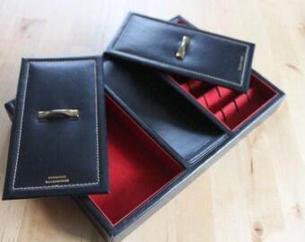Vintage Black Leather Jewelry Box with Gold Trim - Retro Dresser Valet with Red Velvet Interior - Hickok Mens Organizer