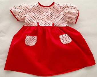 Vintage 1950s 60s Baby Girl's Red Polka Dot Dress 3 Months