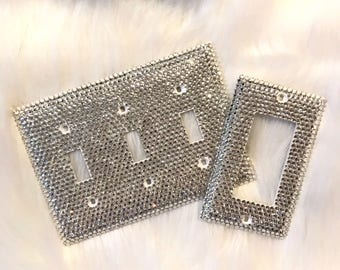 Bling Light Switch Plate Set   Crystal Switch Plate  Bling Light Set   Crystal Home