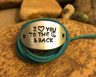I love you to the moon and back turquoise wrap bracelet, sued leather, yoga jewelry, graduation gifts, Valentine's Day gifts, anniversary