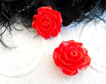 20 mm red resin flower cabochons