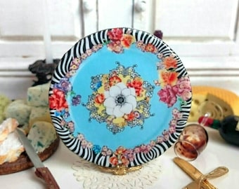 Hot Flowers Dollhouse Miniature Plate 1:12 Scale.