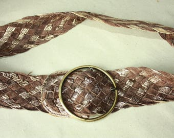 Brown Woven Vintage Belt - Metal Buckle -  ... a Fashionista Statement Piece can fit for Size S and M and L