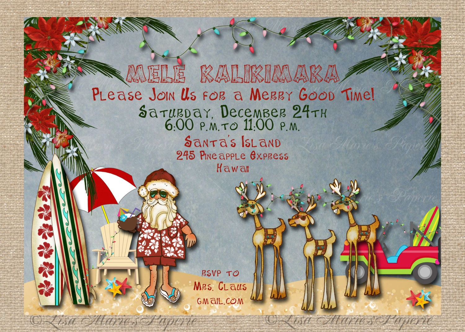 Hawaiian Christmas Party Invitation Santa Claus