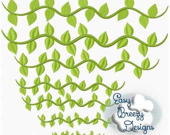 Vine Border Embroidery Design, Vine Embroidery Design, Leafy Vine Embroidery - Digital Download Files