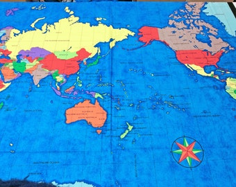 Large world map fabric panel supply countries asia africa from world map panel by nutex fabrics 35 x 44 inches 89 x 112 cm 86280 gumiabroncs Gallery