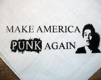 Hand Printed Bandana Make America Punk Again Jello Biafra Trump Parody Dead Kennedys 100% Cotton White Standard Size