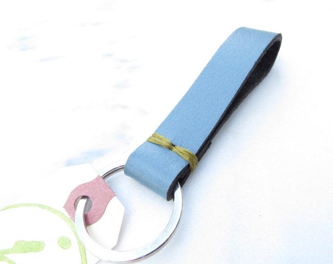 Clearance Sale: **READY TO SHIP** Carolina Blue Stitch Upycled Leather Keychain