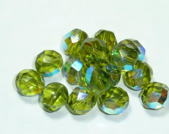 10 pearls 8mm Czech faceted olive green iridescent