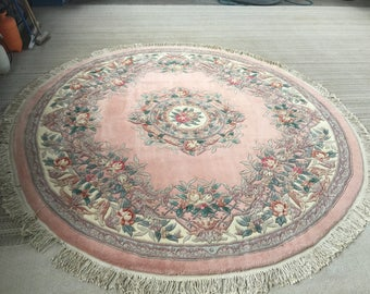 Mid 1900's 8ft Round Hand Made Chinese Oriental