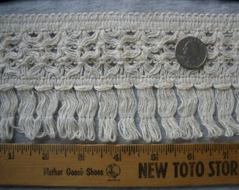 """Ecru Wide lacy loop Fringe trim 3 7/8"""" wide cotton yards BTY sewing crafts costume home decor natural edging"""