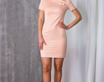 SALE, Midi Fitted Pink Dress by TAVROVSKA