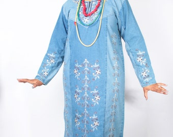 Vintage 90's Dress // BOHO Floral EMBROIDERED Denim Priestess Maxi Tunic Dress // Vintage Plus Size Dress (sz 14 16 L)