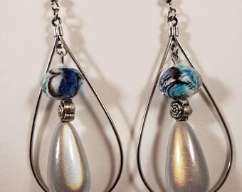 Blue and White Teardrop Earrings
