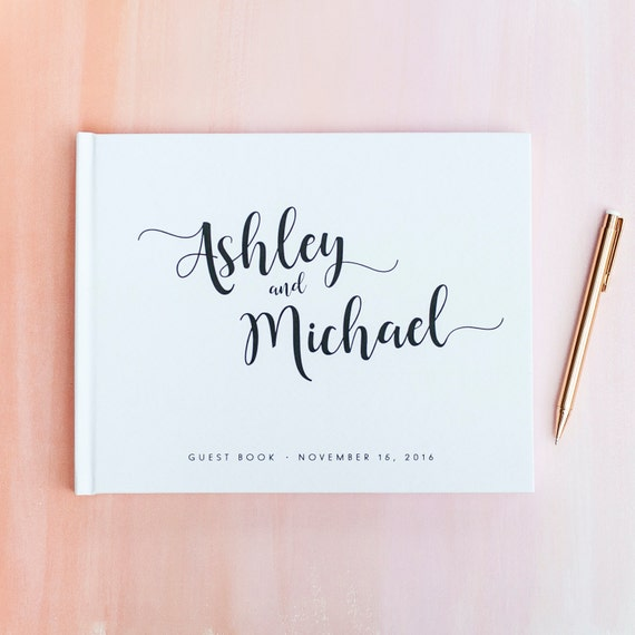 Wedding Guest Book wedding guestbook horizontal guest book wedding sign in book wedding reception book photo booth hardcover wedding planner