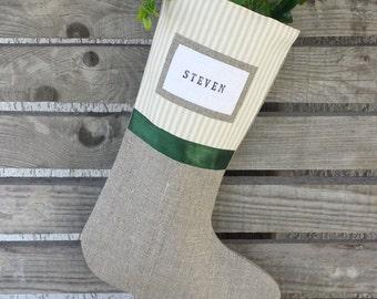 Vintage inspired stocking,cream and white ticking stocking, christmas stocking, linen stocking, burlap stocking, striped stocking