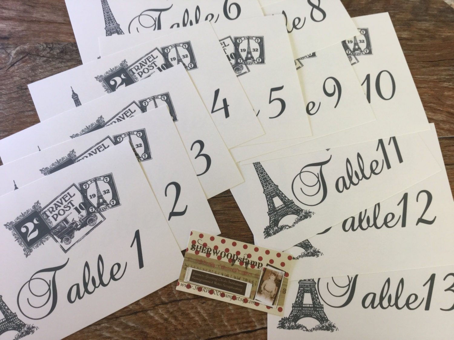 10 Paris Themed Table Numbers X-large 5x7 Cards Wedding Invitations ...