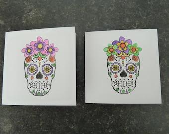 sugar skull mini cards, handmade UK pair