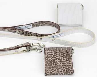 Dog lead in elegant printed Italian leather