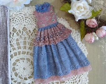 Blythe clothes / Blythe shabby blue dress for Blythe / blue vintage dress / Pullip dress / romantic dress