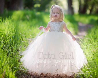 Champagne Sequin Tutu Dress, Sleeveless Tutu Dress, Champagne Tulle Dress, Champagne Flower Girl Tutu Dress