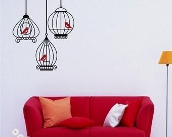 Birds in Birdcage Grouping Vinyl Wall Decals Stickers Art Graphics