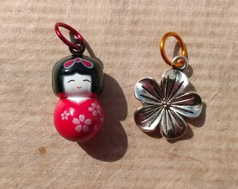 Pretty kokeshi stitch marker set