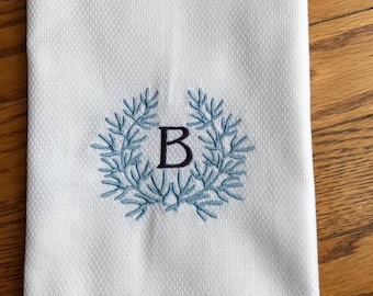 Coral Laurel Wreath Monogrammed Hand Towel, Wedding Gift, Hostess Gift, Personalized Gift