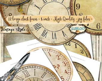 VINTAGE CLOCK 8 inch circle - printable clock face jpeg clipart vintage home decor diy paper crafting - download digital collage - tn539
