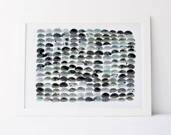 Pebbles in Blue - Fine Art Print