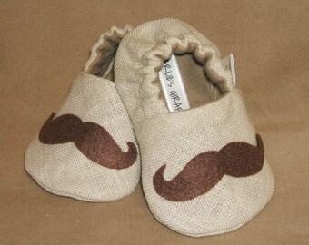 Mustache Baby Booties -  Newborn, Infant, Baby Slippers, Crib Shoes, Footwear, 0 - 18 Months - Mustache Booties