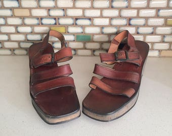 70s Brown Leather Sandals Cork Platform Wedge Ankle Straps Made in Italy by Joyce 9.5 M 1/2 41 42