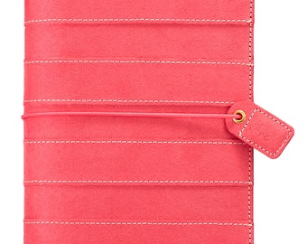 Websters Pages Pink Stripe Suede Standard Size Travellers Notebook