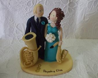 custom bride and  groom music wedding cake topper