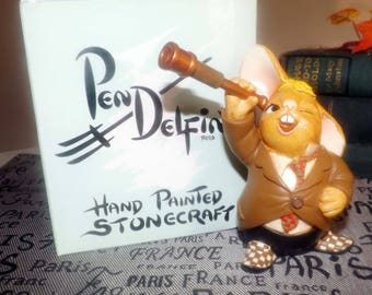 Vintage (c.1990s) PenDelfin rabbit figurine named Patrick the Astronomer. Hand-painted Stonecraft. Original box and label.