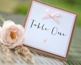 Wedding Table Number Cards Pack of Folded Square Pink Heart Bow Name/Number - Any Colour Available
