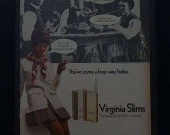 Virginia Slims Ad, You've Come a Long Way Baby, Vintage, 1960, Retro Magazine Ad, Wall Art