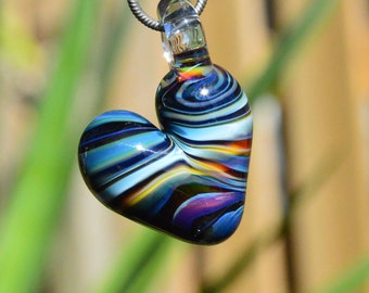 Heart Necklace Charm - Glass Heart Charm - Heart Pendant - Heart Necklace Pendant - Glass Heart Pendant - Multi Color Hand Blown Glass