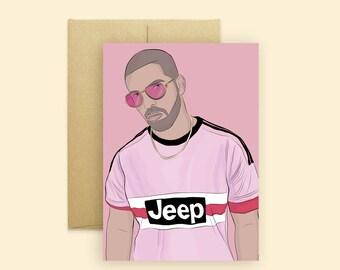 Pink Papi Drake Greeting Card  (Hip Hop Greeting Card, Pop Culture Card, Funny Greeting Card, For Any Occasion)