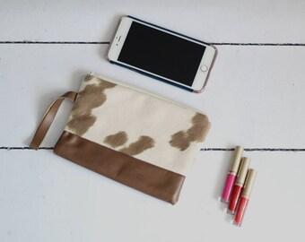 Cowhide Clutch Cowhide Makeup Bag Leather Bag Bridesmaid Clutch Boho Clutch Mama Bag Bridesmaid Wristlet Zipper Pouch Faux Cowhide Bag