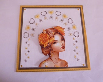 """2018118 embroidered """"pretty Metis"""" card"""
