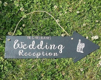 wedding reception sign, wedding direction sign, rustic wedding theme,  directional arrow sign, arrow sign, personalised wedding signs,