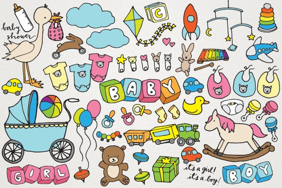 Baby Clipart Hand Drawn Clip Art New Baby Baby Shower Clip Art