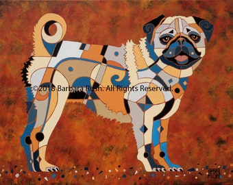 Pug Art, Colorful Pug Art, Dog Art, Home Decor, Dog Art Prints, Pug Dog Art, Pug Lover, Gifts for Pug Lovers