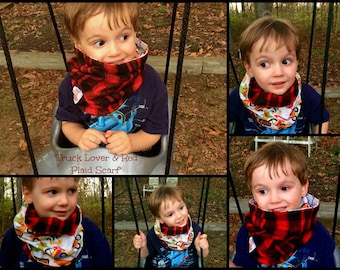 Truck Lovers and Red Plaid Reversible Neck Scarf for Children