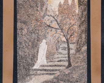Natural sand painting 24x18 cm White lady